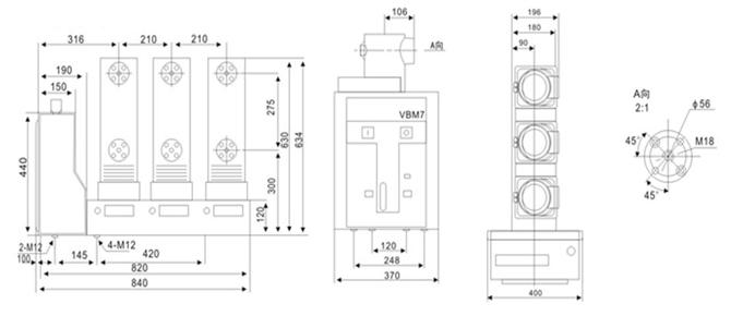 VS1-12型侧装式(VBM7)真空路路器系户内高压开关设备,适用于额定电压12千伏、频率50Hz的三相电力系统中,作为保护和控制电器使用,由于真空断路器的特殊优越性,尤其适用于需要电流下的频繁操作,或多次开断短路电流表的场所。 VS1-12型侧装式(VBM7)真空路器采用固定式安装,主要用于固定式开关柜,该断中器既可单独使用,又可用于环网供电、箱式变或各种非标供电系统。
